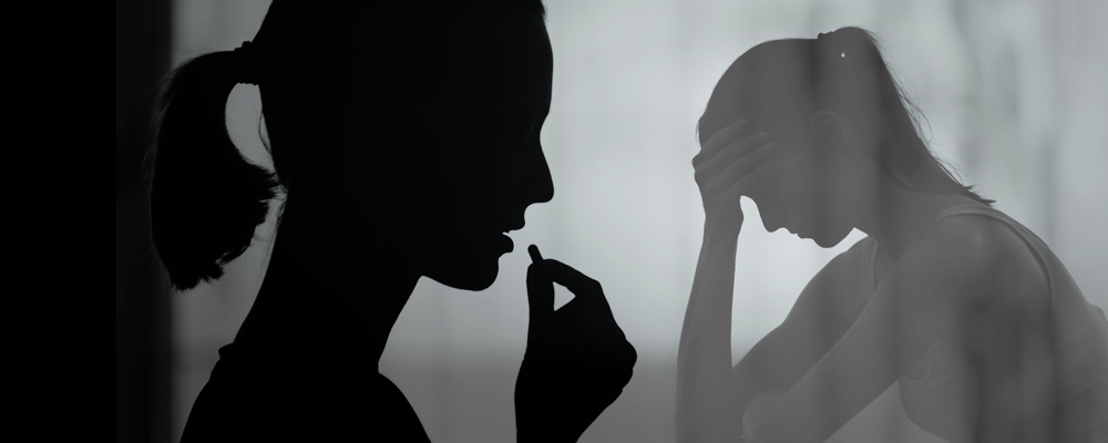an outline of a women taking prescription medication